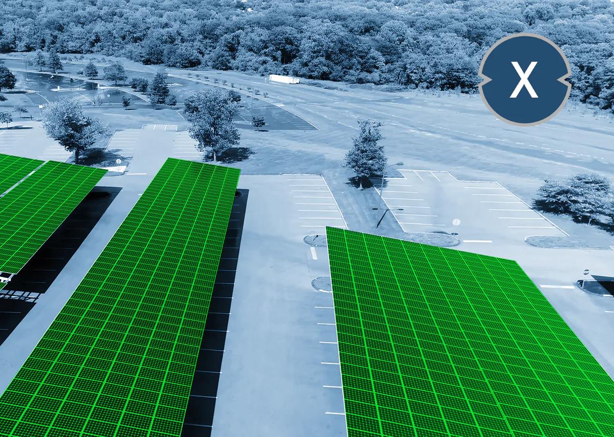 Offene Parkplätze mit Photovoltaik Carport